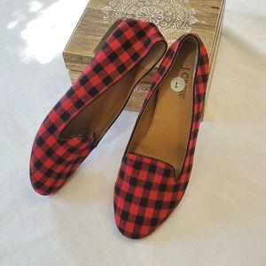 J CREW Cora Buffalo check slip-on loafers/flats
